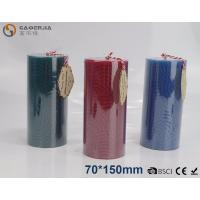 China Solid - colored Decorative Embossed Pillar Candles With Flat Top wholesale