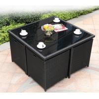 China Outdoor Square Rattan Garden Dining Table With Glass Top Weatherproof wholesale