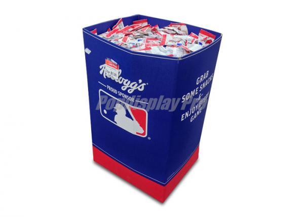 Quality FMCG Full Color Printed Cardboard Dump Bins Lightweight For Snack Foods for sale