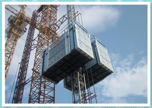 Quality Bridge Construction Material Lifting Hoist With Two Cage , Rack And Pinion for sale