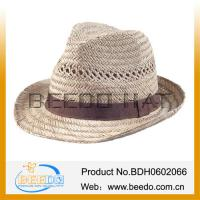 China Manufacturer promotion hollow fedora straw hat with band for sale wholesale