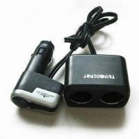 China USB Car Cigarette Lighter Adapter with Two Sockets, Measures 56 x 33 x 32mm on sale