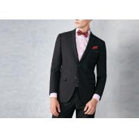 China Black Tailored Mens Tuxedo Suits Breathable Polyester / Rayon Fit Wedding Party wholesale