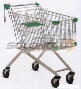 Buy cheap 物質的な開くこと着色されたスーパーマーケットのショッピング トロリー バスケットの鋼鉄 from wholesalers