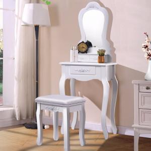 Buy cheap Bathroom Vanity Wood Makeup Dressing Table Stool Set with Mirror from wholesalers