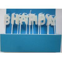 White Separated Topper Pick Alphabet Letter Candles , Glitter Letter Candles For Birthday Cakes