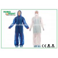 China Waterproof Disposable Coveralls with Hood , Nonwoven Breathable Stripping wholesale
