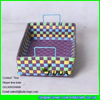 China LDKZ-035 colorful handwoven desk drawer organizer home strapping self  woven basket with handles wholesale