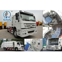 China EuroIII   4X2 HOWO Truck chassis 4m³ Sweeper Garbage Compactor Truck Energy-Saving 95Km/H wholesale