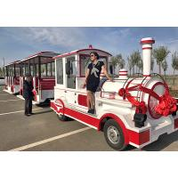 China Theme Park Roundhouse Trackless Trains 72 Sets Diesel Road Train Steering System wholesale