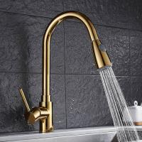 China Gold long neck extendable pull out brass kitchen basin faucet  For Hotel Use wholesale