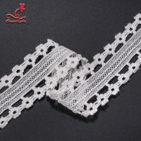 China Stretch Border Water Soluble Lace Trim / White Lace Ribbon 4.5cm Width wholesale