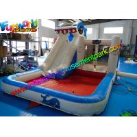 China Shark Outdoor Inflatable Water Slides  ,  Air Combo Bouncer With Water Pool on sale