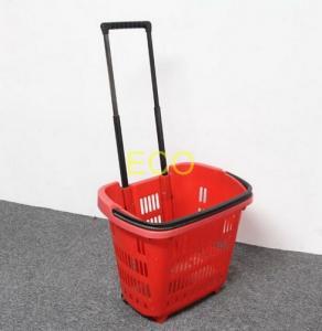 China Polypropylene Supermarket Plastic Handy Shopping Basket With Wheels SGS ISO9002 wholesale