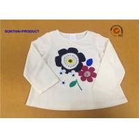 Long Sleeve Childrens Plain White T Shirts Crew Neck Screen Print For Girls