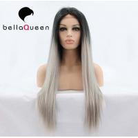 China Ombre Color 1b / Sliver Heat Resistant Human Hair Lace Front Wigs Girl use on sale