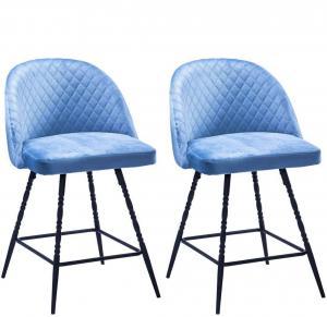 China 26 Inch Upholstered Padded Saddle Bar Stools , Blue Velvet Bar Stools Metal on sale