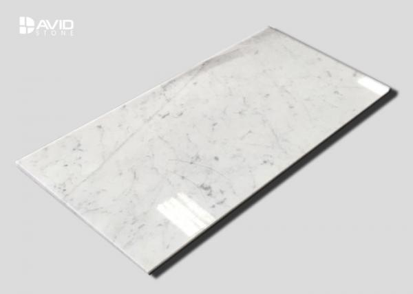 Quality Crashproof  White Carrara Marble Stone Tile For Bathroom / Kitchen Decoration for sale