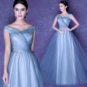 China Ice Blue Drape Floor Length Lace Up Elegant Evening Dresses TSJY065 wholesale