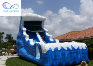 China Commercial 6.5 Meters High Blue Wavy Inflatable Water Slide For Outdoor Summer Fun wholesale