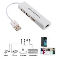 China USB 2.0 LAN Ethernet Adapter with RJ45 3 USB Hub for TV Stick Streaming Device wholesale
