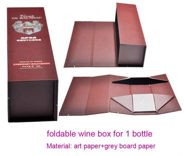 Quality Luxury Foldable Cardboard Wine Gift Box for Sale, Wine Packaging Bottle Box for 1 Bottle for sale
