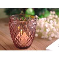China Beautiful Colored Glass Votive Candle Holders With Diamond Embossed Pattern wholesale