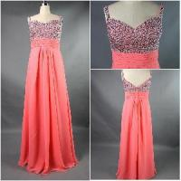 China New Coming 2012 Lovely Spaghetti Straps Sheath Beaded Ruffle Satin Sexy Prom Dress on sale