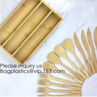 China 12-Piece Reusable Bamboo Flatware Set with Portable Storage Case,Chopping Board,Cheese Board,Pizza Board,Drawer Organzie wholesale