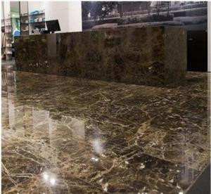 China Marron Emperador Dark Marble Stone Slab , Granite Bathroom Tiles For Floor And Wall wholesale
