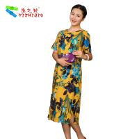 China Flower Printed Long Casual Summer Dresses With Short Sleeves 100% Cotton Material wholesale