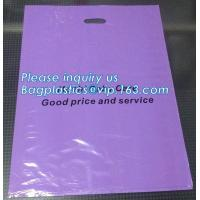 China Custom print ldpe hdpe die cut handle carry poly apparel plastic merchandise gift packaging polythene shopping bag with wholesale
