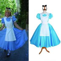 China Princess Dress Wholesale Blue White Satin Custom Made Alice's Adventures in Wonderland Alice Maid Dress Cosplay on sale