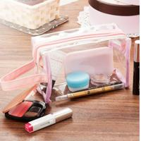 China Transparent PVC Cosmetic Bag , Makeup Clear Cosmetic Bags Compact Size wholesale