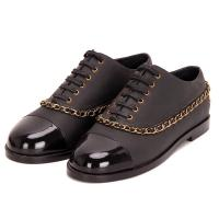 China Fashion leather shoes white and black patchwork low heel lace-up women dress shoes comfortable shoes wholesale