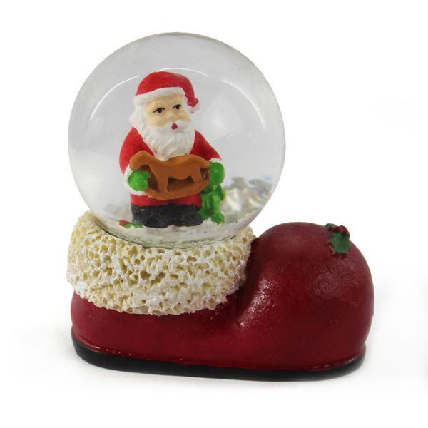 Quality Transparent Sphere Glass Resin Snow Globe Merry Christmas Santa In Boot for sale