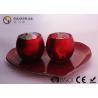 Set Of 2 Portable Red Tealight Holders Brightness For Dinner Decoration