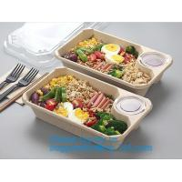China Biodegradable Microwave Bamboo Sugarcane Bagasse Food Container,Eco friendly disposable sugarcane food container with li on sale