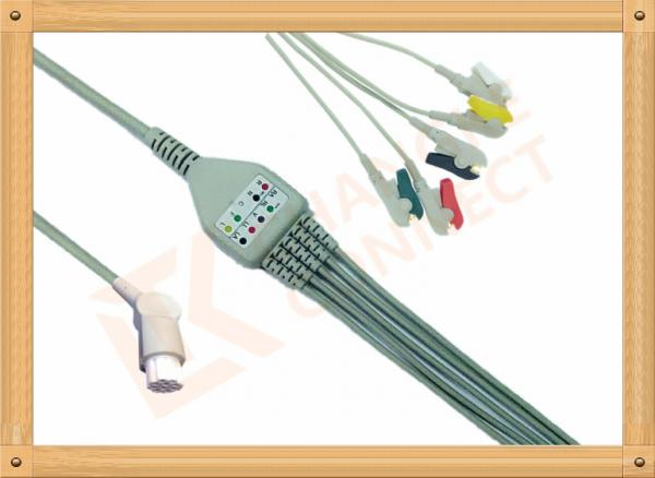 Quality 10 Pin 5 Leads Grabber IEC Datex Ohmeda Ecg Cable With Copper Conductor for sale