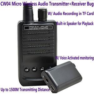 CW04 Mini Wireless Remote Audio Transmitter Receiver Spy Bug W/ Voice Recording in TF Card