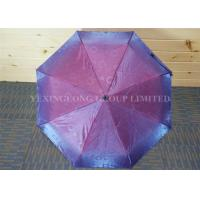 Fashion Red Pongee Compact Folding Umbrella , Shinning Reflective Rain Umbrella