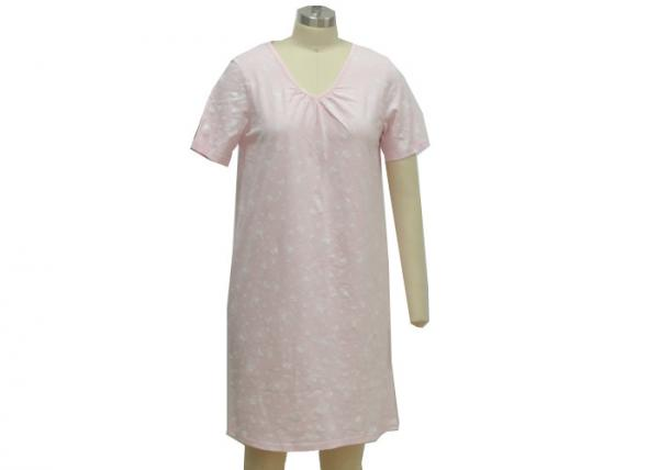 Quality Natural 100 Cotton Short Sleeve Nightgown , V Neck Night Dress For Womens for sale
