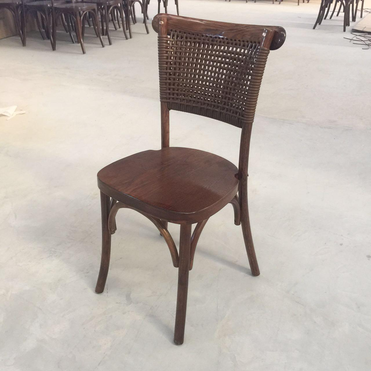 China French style oak wood stackable cross back chair  wooden dining chair wedding chair with rattan back wholesale