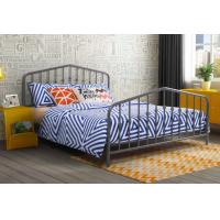 China Modern Grey Full Size Metal Beds Wrought Iron California King Size Bed Frame wholesale