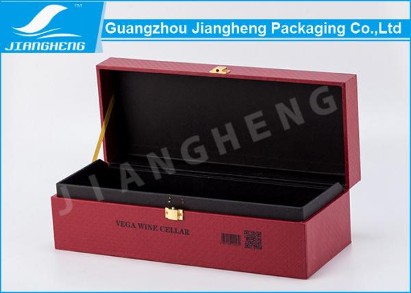 Quality Rigid Cardboard Single Bottle Wine Gift Box , Vintage Wine Bottle Packaging Boxes for sale