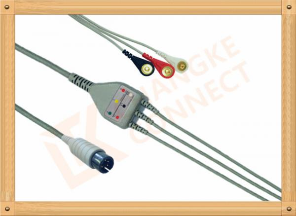 Quality Generic AAMI ECG Patient Cable 6 Pin 5 Leads PVC Insulation Solid Conductor for sale