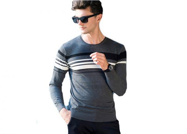 Quality Thin Wool Casual Men's Roundneck Sweater Flat Knitting Patterns Jacquard Style for sale