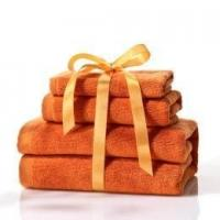 China Orange Cotton Towel Set for Hotel & Home Use with Small & Big Size Towels wholesale