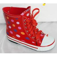 China red rubber  rain boots with lace, on sale