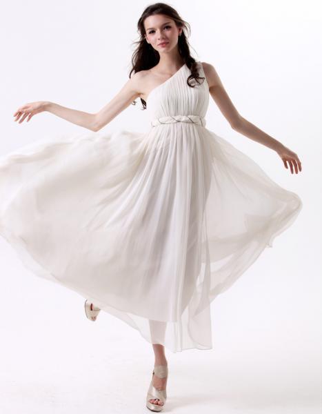 Quality Elegant White One Shoulder Womens Long Maxi Dresses Chiffon Summer Skirt for sale